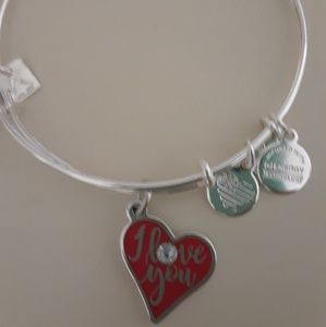 """Alex and Ani SS with Red """"I Love You"""" Bracelet"""